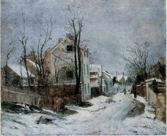 athousandwinds: Iarna la Barbizon (Winter in Barbizon), oil on canvas by Ion Andreescu, Romanian artist of landscapes and member of the Barbizon School of painting. Andreescu was one of founders of Romanian painting. Great Paintings, Art Database, Oil Painting Reproductions, Winter Scenes, Artist Painting, Beautiful Artwork, Art And Architecture, Lovers Art, Barbizon School