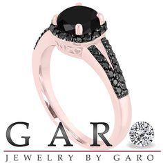 Certified Fancy Black Diamond Engagement Ring 14K Rose Gold 1.45 Carat Halo Pave handmade