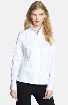 Santorelli Stretch Cotton Blouse available at #Nordstrom