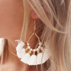 Bead Tassel Earrings - Creme | My Jewellery