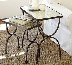 "Willow Nesting Tables, Set of 2 - Pottery Barn - Small: 19"" w x 11"" d x 19.5"" h - Large: 24"" w x 15"" d x 24.5"" h"