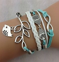 8 Silvertone Unicorn Gods Love Infinity Toggle Chain Bracelet