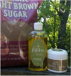 Rough Dry Hands from Gardening? Simple ingredients to exfoliate skin: brown sugar, jojoba scrub. www.SkinSalvy.com