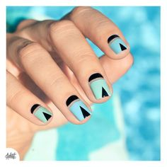 Negative space triangle nail art. Would be interesting to try and do SU Lapis inspired mani with this.