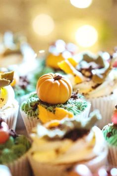 Take a look at this beautiful fall pumpkin-themed 1st birthday party! The cupcakes are fabulous! See more party ideas and share yours at CatchMyParty.com #catchmyparty #partyideas #pumpkinparty #fallparty #pumpkin1stbirthday