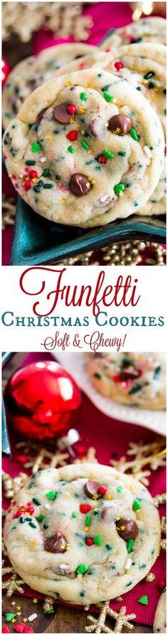 Funfetti Christmas Cookies, soft, chewy, and festive! || Sugar Spun Run
