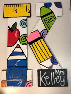 Teacher Themed Letter | Etsy Letter To Teacher, Teacher Doors, Teacher Signs, Teacher Canvas, Classroom Door Signs, Teachers Day Card, Back To School Teacher, College Gifts, Teacher Christmas Gifts