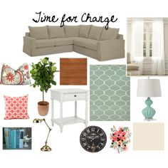 Turquoise and coral living room by the Thelinenhouse on Polyvore