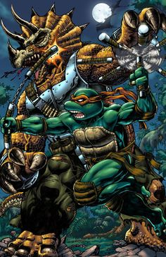Michelangelo vs Triceraton 11x17 Digital Print by PROSSCOMICS