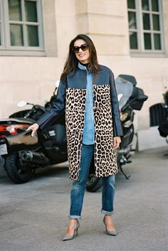 leopard print coat (celine) + denim chambray shirt