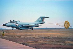 USAF ADWC McDonnell F-101B Voodoo with its deceleration chute deployed.