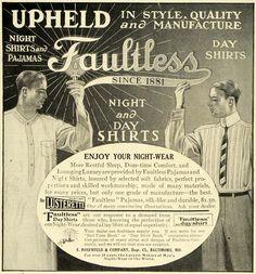 1911 Ad E Rosenfeld Upheld Faultless Pajamas Night Shirts Nightwear Men 644bc4440