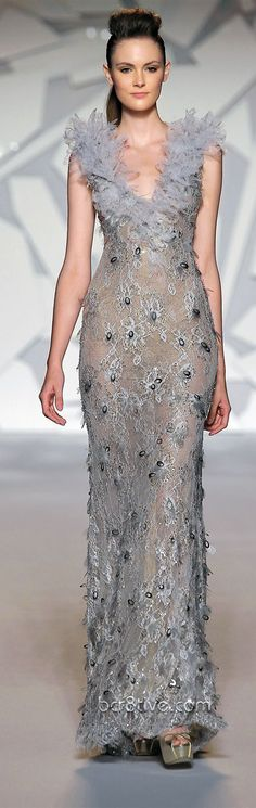Abed Mahfouz Couture - Fall 2013 evening gowns are soft, feminine, shapely, flowing, elegant and super sexy. They all scream Red Carpet. Silver Evening Gowns, Evening Dresses, Beautiful Gowns, Beautiful Outfits, Fabulous Dresses, Stunning Dresses, Abed Mahfouz, High Fashion Dresses, Dress Vestidos
