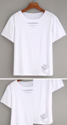 Ripped Plain White T-shirt
