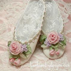 The roses are the real attraction of these ravishing slippers.