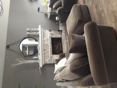 Restoration Hardware Slate wall color.  Simple design for the fireplace center.