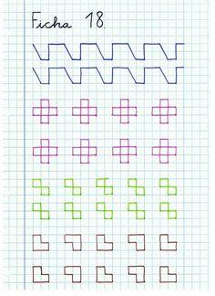 Caligrafía-Ficha-18 Graph Paper Drawings, Graph Paper Art, Preschool Writing, Kindergarten Activities, Lettering Tutorial, Hand Lettering, Calligraphy Tutorial, Fine Motor Activities For Kids, Kids Learning