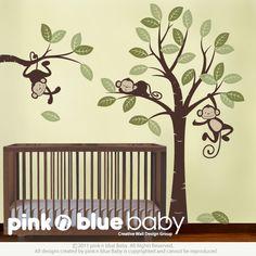 Wall Decals, Three Monkeys and Tree - Nursery Wall Decals Kids Wall Decals, Nursery Wall Decals, Nursery Room, Nursery Ideas, Wall Vinyl, Room Ideas, Babies Nursery, Wall Ideas, Wall Sticker