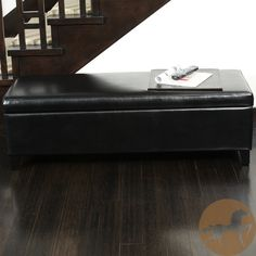 Ottoman black leather storage bench
