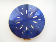 Vintage Stratton Compact Mirror  Blue and Gold by heirloomrose