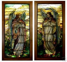 pair of Angel stain glass windows- attributed to Tiffany or La Farge. Tiffany Glass, Tiffany Stained Glass, Stained Glass Angel, Stained Glass Windows, Leaded Glass, Mosaic Glass, Fused Glass, San Gabriel, Wine Bottle Wall
