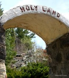 Holy Land USA, Waterbury, Connecticut. After receiving a message from God in the 1950s, local attorney John Greco singlehandedly created the park as an homage to the Holy Land in Israel, fashioning miniature versions of Bethlehem and Jerusalem from chicken wire, plywood, fiberglass and plaster as well as adding dioramas of other key biblical locales. By the time he was done, he had created over 200 unique structures.