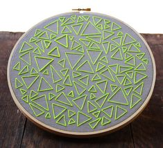 Embroidery Stitches Designs Neon Green on Gray-- Triangle Traffic Hand Embroidery - Hand Embroidery Projects, Creative Embroidery, Learn Embroidery, Hand Embroidery Stitches, Embroidery Hoop Art, Hand Embroidery Designs, Vintage Embroidery, Embroidery Techniques, Ribbon Embroidery