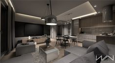 Project apartment Gdynia Wiczlino - Part 2 on Behance High Ceiling Living Room, Cool House Designs, Apartment Design, Small Apartments, Kitchen Lighting, Living Room Designs, Home Goods, Kitchen Design, New Homes