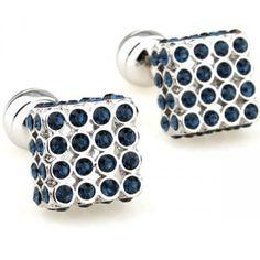 Romance blue crystal mosaic plating steel ball cufflinks