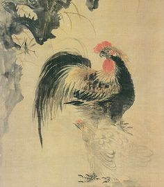 "PAINTING: Jang Seung-eop - Rooster, 1843–1897. (commonly known by his pen name Owon), was a painter of the late Joseon Dynasty in Korea. He was one of the few painters to hold a position of rank in the Joseon court. Considered by many to be the ""father of modern Korean painting""."