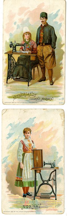 "Singer Sewing Machine chromolithographic ""trade cards"" from 1890s"