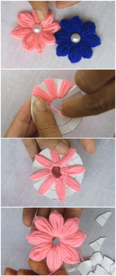 Crochet Flowers Ideas Flower Embroidery - Amazing Trick - Today we are going to show flower embroidery amazing trick. Look how lovely it is and it's very easy sewing hack. Make a circle paper, yarn and let's get to it. Hand Embroidery Flowers, Diy Embroidery, Embroidery Stitches, Embroidery Patterns, Creative Embroidery, Flower Crafts, Diy Flowers, Fabric Flowers, Paper Flowers