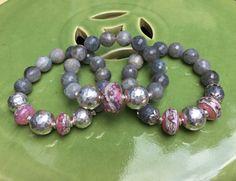 Labradorite Gemstone Triple Stretch by JewelrybyKellyWalker