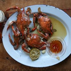 In this dish, fresh blue crabs are steamed in a flavorful mixture of chile, garlic, lime, and beer.