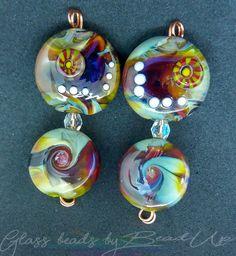 Lampwork glass beads. Yellow base, Raku, Skyron Glass Beads, Base, Yellow, Handmade, Hand Made, Crystal Beads, Craft, Arm Work, Gold