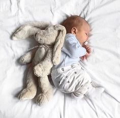baby boy and stuffed rabbit. Sleeping baby baby boy and stuffed rabbit. So Cute Baby, Cute Kids, Cute Babies, Foto Baby, Cute Baby Pictures, Art Pictures, Baby Family, Everything Baby, Baby Time