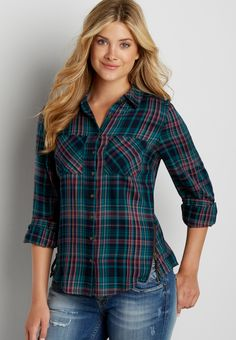 button down plaid shirt with zippers (original price, $32.00) available at #Maurices