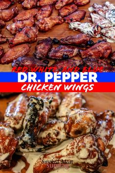 Smoky, Crispy, and delicious. This chicken wing recipe starts with a brine in Cherry Dr. Pepper and then the wings are tossed in a patriotic sauce of your choosing. I'll never make chicken wings a different way again! Smoker Chicken Wings, Cooking Chicken Wings, How To Cook Chicken, Grilled Chicken Wings, Keto Chicken, Dr Pepper Chicken, Chicken Stuffed Peppers, Meat Appetizers, Appetizer Recipes
