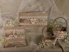 Burlap Natural Birch Bark Wedding Set, Guest Book, Rustic Guestbook, Shabby Chic Burlap Ring Bearer Pillow, Birch Bark Baskets on Etsy, $160.00