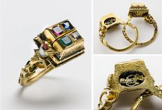 The 'Sture ring' is said to be the betrothal ring of Sten Sture the younger, that led the Swedish army in the war with the Danes, and Kristina Gyllenstierna. They married in 1511The ring is made from gold, with enamel and several different gemstones. Inside the ring, which can be divided, there is a miniature gold skeleton – a symbol of death. creepy, but interesting~