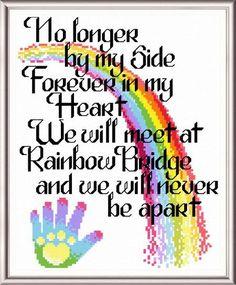 Lets Cross the Rainbow Bridge poem - cross stitch pattern designed by Ursula Michael.