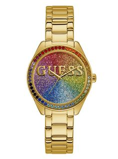Gold-Tone Rainbow Analog Watch at Guess Ice Watch, Olivia Burton, Stylish Watches, Cool Watches, Daniel Wellington, Girls Wrist Watch, Rebecca Minkoff, Juicy Couture Watch, Fitness Watches For Women