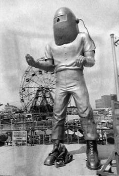 Spaceman Coney Island NYC 1950s by Brechtbug, via Flickr