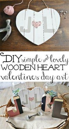 DIY Wooden Heart Valentines Day Art -