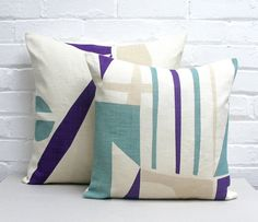 Tamasyn Gambell | Slice Cushions | www.tamasyngambell.com Cockpit Arts, Small Cushions, Screen Printing, Taupe, Purple Teal, Throw Pillows, Prints, Nostalgia, Small Pillow Cases