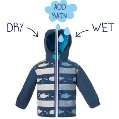 This is a Grey colour changing child's rain coat with a bright dinosaur design.