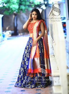Swathi Veldandi Design Studio. <br> Email :  +918179668098. Banarasi Lehenga, Half Saree Lehenga, Lehnga Dress, Lehenga Style, Anarkali, Half Saree Designs, Choli Designs, Lehenga Designs, Blouse Designs