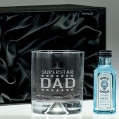 Engraved Dimple Base Tumbler and Gin Set - Superstar Dad Photo 3