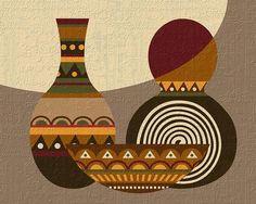 Pop Art African Abstract Pattern Design, Ethnic Motif, African Art, African Painting, Calabash Art, Calabash Gourds, African Geometric Art  Also