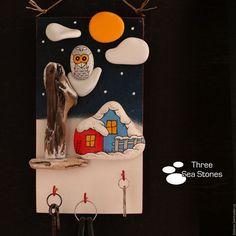 Новый год 2017 ручной работы. Ярмарка Мастеров - ручная работа. Купить Панно-ключница #37. Handmade. Зима, картина, дым